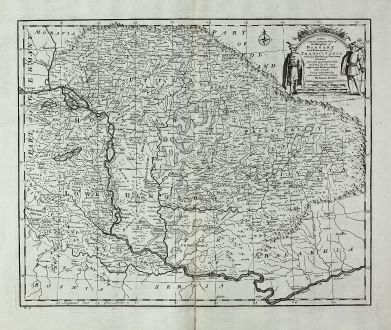 Antike Landkarten, Bowen, Österreich - Ungarn, 1747: A New and Accurate Map of the Kingdom of Hungary and Principality of Transilvania with the Bordering Countries Drawn from...