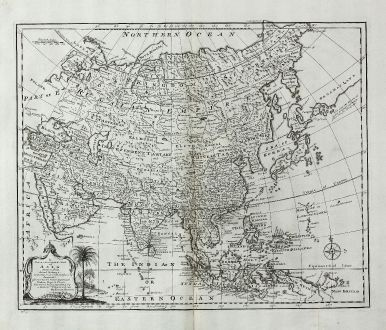 Antique Maps, Bowen, Asian Continent, 1747: A New & Accurate Map of Asia Drawn from Actual Surveys ...