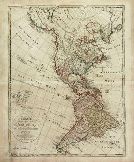 Antike Landkarten, Homann Erben, Amerika Kontinent, 1806: Charte von America nach astronomischen Bestimmungen, den neusten Nachrichten und Charten entworfen von F. L. Güsselfeld.