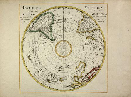 Antike Landkarten, de l Isle, Pazifik, Südpolar Region, Australien, 1714: Hemisphere Meridional pour voir plus distinctement les Terres Australes