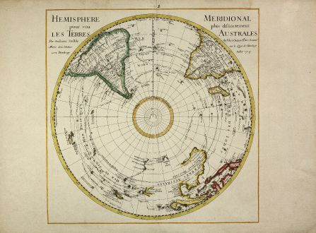 Antique Maps, de l Isle, South Polar Region, Australia, 1714: Hemisphere Meridional pour voir plus distinctement les Terres Australes