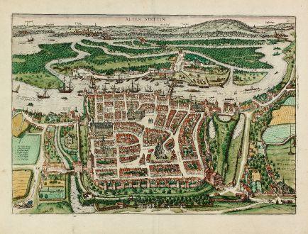 Antique Maps, Braun & Hogenberg, Poland, Stettin, Szczecin, 1588: Alten Stettin