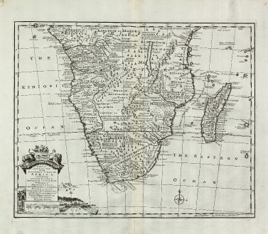 Antique Maps, Bowen, South Africa, 1747: A New & Accurate Map of the Southern Parts of Africa ...