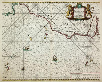 Antique Maps, Doncker, North Africa, Atlantic, Canary Island, 1660: De Cust van Barbaria, Gualata, Arguyn en Geneheo van Capo S. Vincent tot Capo Verde