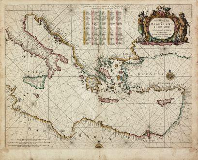 Antike Landkarten, Goos, Mittelmeer, Östliches Mittelmeer, 1666: Paskaerte van't Oostelyckste der Middelandsche Zee