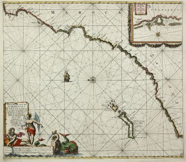 Antique Maps, van Keulen, North Africa, Atlantic, Lanzarote, Canary Island: Nieuwe Pascaert vande Kust van Maroca en Zanhaga Beginnend van C. Cantin tot C. Bajador, waer in ook te sien is 't I....