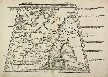 Antike Landkarten, Waldseemüller, Russland, Osteuropa, Polen, Skandinavien: Octava Europe Tabula