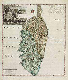 Antique Maps, Homann Erben, France, Corsica, Corse, 1735: Insulae Corsicae Accurata Chorographia Tradita Per I. Vogt Capit. S. C. M. et excusa Studio Homannian. Heredum / Norib....