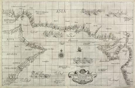 Antike Landkarten, Dudley, Mittlerer Osten, Arabisches Meer, 1646: Carta particolare che comincia con il capo Dofar in Arabia è finisce con il capo Cintapora nell Indie... d'Asia Carta Prima