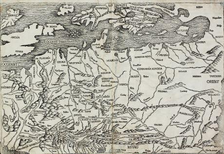 Antike Landkarten, Schedel, Europa Kontinent, 1493: [Germania Magna]