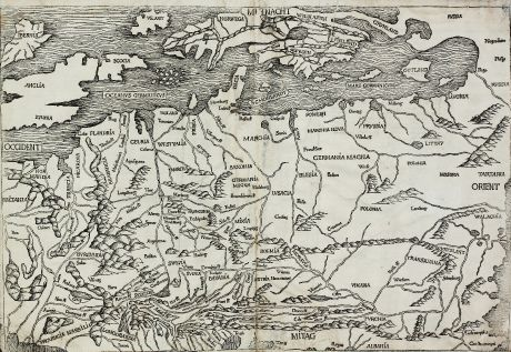 Antique Maps, Schedel, Europe Continent, 1493: [Germania Magna]