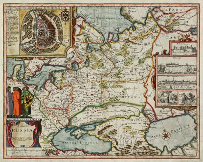 Antike Landkarten, Speed, Russland, Moskau, 1676: A Map of Russia