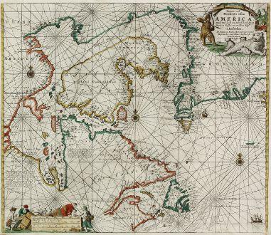 Antique Maps, van Keulen, Hudson Bay, Northwest Passage, Greenland: Pascaarte vande Noorder Zee Custen van America, vande West-Hoeck van Ysland doorde Straet Davis en Hudson, tot aen Terra Neuf