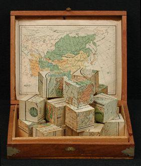 Atlanten, Verneau, Puzzle, Spiel, 1880: Mappemonde en deux Hemispheres