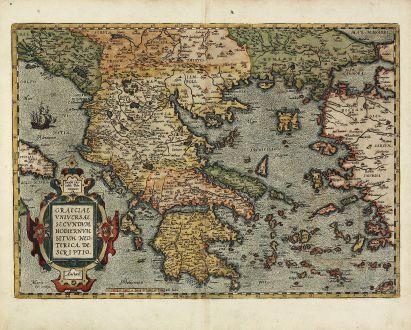 Antike Landkarten, Ortelius, Griechenland, Peloponnes, Ägäis, Kreta, Kleinasien: Graeciae Universae Secundum Hodiernum Situm Neoterica Descriptio