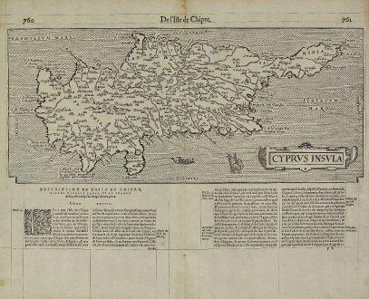 Antike Landkarten, de Belleforest, Zypern, 1575: Cyprus Insula