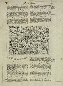 Antique Maps, de Belleforest, Greece, Euboea, Negroponte, 1575: Negroponte