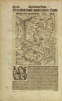 Antike Landkarten, Münster, Griechenland, 1574: [Griechenland nach seinen Land-Schafften und eigenschafften.]