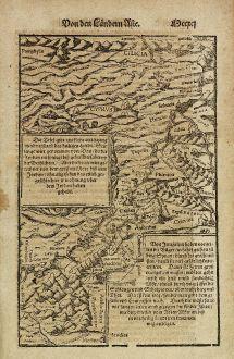 Antike Landkarten, Münster, Heiliges Land, Israel, Zypern, 1574: [Die Tafel gibt ein klein anzeigung...]