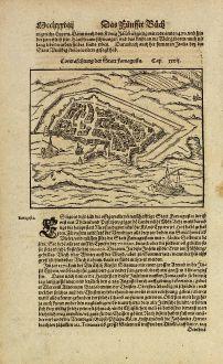 Antike Landkarten, Münster, Zypern, Famagusta, 1574: Contrafestung der Statt Famagusta