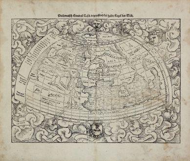 Antique Maps, Münster, Ptolemaic World Map, 1540 (1574): Ptolemaisch General Tafel, begreiffend die halbe Kugel der Welt