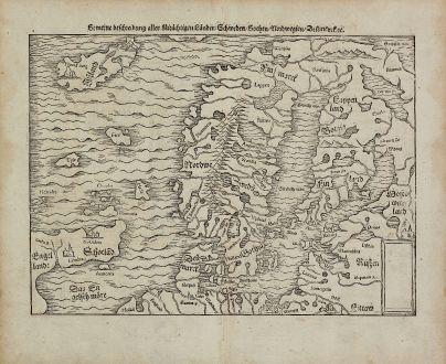 Antique Maps, Münster, Scandinavia, Sweden, Norway, Finland, Iceland, 1574: Gemeine Beschreibung Aller Mitnachtigen Lander Schweden, Gothen, Nordwegien, Dennmarck &c.