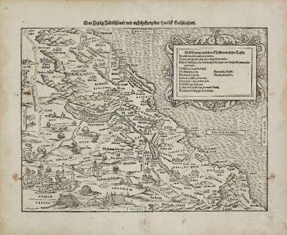 Antike Landkarten, Münster, Heiliges Land, Israel, 1540 (1574): Das Heilig Judischland mit ausztheilung der Zwolff Geschlechter