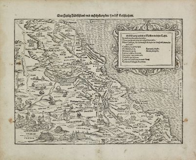 Antique Maps, Münster, Holy Land, Israel, 1540 (1574): Das Heilig Judischland mit ausztheilung der Zwolff Geschlechter