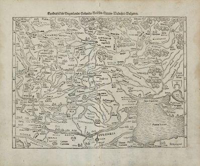 Antike Landkarten, Münster, Polen, Osteuropa, 1540 (1574): Landtafel des Ungerlands, Polands, Reussen, Littaw, Walachei, Bulgarei