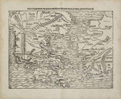 Antike Landkarten, Münster, Griechenland, 1574: Neuw Griechenlandt, mit andern anstossenden Landern, wie es zu unsern zeiten beschriben ist
