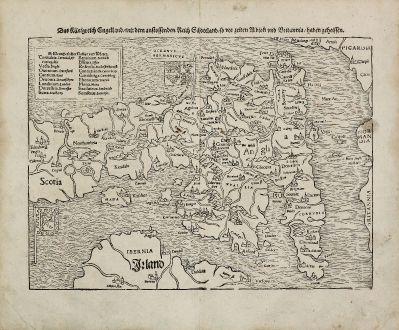 Antike Landkarten, Münster, Britische Inseln, England, 1540 (1574): Das Kunigreich Engelland, mit dem anstossenden Reich Schottland, so vor zeiten Albion und Britannia, haben geheissen