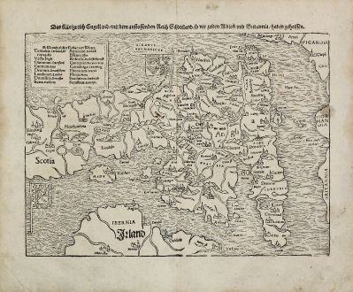 Antique Maps, Münster, British Islands, England, 1540 (1574): Das Kunigreich Engelland, mit dem anstossenden Reich Schottland, so vor zeiten Albion und Britannia, haben geheissen