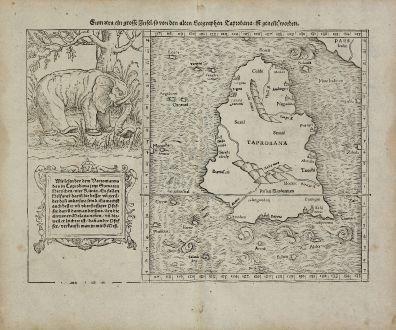 Antike Landkarten, Münster, Indien, Ceylon, Sri Lanka, Taprobana, 1540 (1574): Sumatra ein grosse Insel, so von den alten Geographen Taprobana, ist genent worden