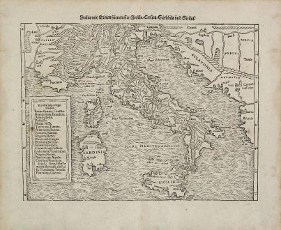 Antike Landkarten, Münster, Italien, Sardinien, Sizilien, Korsika, 1540 (1574): Italia mit Dreien furnemsten Inseln, Corsica, Sardinia und Sicilia.