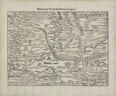 Antike Landkarten, Münster, Balkan, Kroatien, Slowenien, Bosnien, Dalmatien: Sclavonia oder Windisch Marck, Bossen, Crabaten