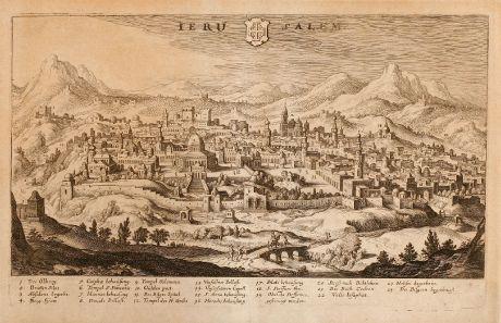 Antike Landkarten, Merian, Heiliges Land, Jerusalem, 1638: Ierusalem