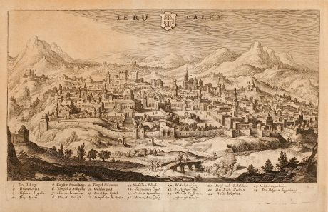Antique Maps, Merian, Holy Land, Jerusalem, 1638: Ierusalem