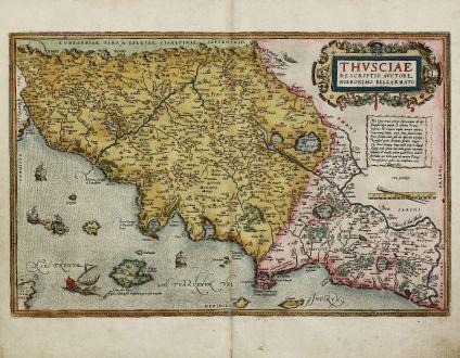 Antike Landkarten, Ortelius, Italien, Toskana, 1584: Thusciae Descriptio Auctore Hieronymo Bellarmato.