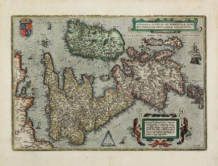 Antike Landkarten, Ortelius, Britische Inseln, Großbritannien, 1601: Angliae, Scotiae et Hiberniae, sive Britannicar: Insularum Descriptio.