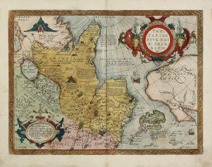 Antike Landkarten, Ortelius, Russland, Tartaren-Reich, Nordwesten USA, 1584: Tartariae sive Magni Chami Regni Typus