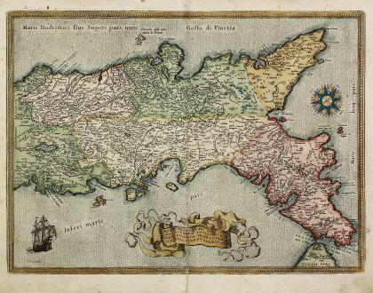Antike Landkarten, Ortelius, Italien, Neapel, Süditalien, 1584: Regni Neapolitani Verissima Secundum Antiquorum et Recentiorum Traditionem Descriptio, Pyrrho Ligorio Auct.