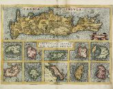 Old coloured map of the Aegean Sea, Cyclades, Crete. Printed in Antwerp in the year 1584.