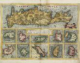 Altkolorierte Landkarte der Ägäis, Kykladen, Kreta. Gedruckt in Antwerpen im Jahre 1584.