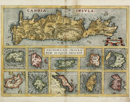 Antique Maps, Ortelius, Greece, Crete, Cyclades, Aegean Sea, 1584: Candia Insula / Archipelagi Insularum Aliquot Descrip.