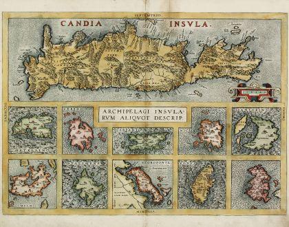 Antique Maps, Ortelius, Greece, Crete, Cyclades, Aegean Sea, 1584: Candia Insula / Archipelagi Insularum Aliquot Descrip.