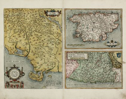 Antique Maps, Ortelius, France, Corsica, Sienna, Tuscany, Ancona, 1584: Senensis Ditionis Accurata Descriptio / Corsica / Marcha Anconae, olim Picenum 1572