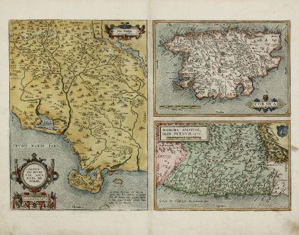 Antike Landkarten, Ortelius, Frankreich, Korsika, Sienna, Toskana, Ancona, 1584: Senensis Ditionis Accurata Descriptio / Corsica / Marcha Anconae, olim Picenum 1572