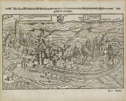Antike Landkarten, Münster, Deutschland, Rheinland-Pfalz, Simmern, 1574: Die Statt Siemern mit aller ihrer Gelegenheit, wie sie zu unsern zeiten in wesen steht, gantz artlich nach aller form und...