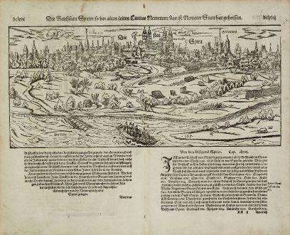 Antike Landkarten, Münster, Deutschland, Rheinland-Pfalz, Speyer, 1574: Die Reichstatt Speyer, so vor alten zeiten Civitas Nemerum, das ist, Nemeter Statt hat geheissen.