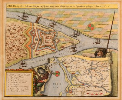 Antike Landkarten, Merian, Polen, Danzig, Gdansk, 1640: Abbildung der Schwedischen Schantz auff dem Weysselstrom in Preußen gelegen. Anno 1626.
